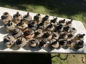 antique oil or kerosene lamp fonts brass copper huge lot