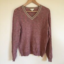 Dries van Noten Merino Wool V Neck Heathered Pink Red Pullover Sweater Sz L