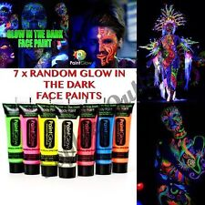 7 x Glow In The Dark Neon Face & Body Paint 10ml SET of 7 Face Paint Party Night