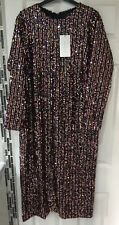 ZARA : BNWTS Sequinned Dress Uk Size Large L Long Sleeves Midi Sequin Bloggers