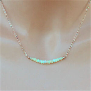 U&C Sundance Ethiopian Welo Opal Fiery Segment & 14k Rose Gold Filled Necklace
