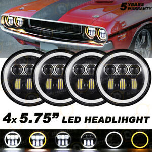 "H5001 H5006 5.75"" 5-3/4 LED Halo DRL Hi/Lo Beam Headlight For Chevy Chrysler 4x"