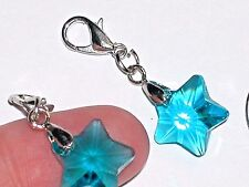1 Pc. Miniature tiny little Magical Crystal Ball STAR Pendant charm clip Aqua BL