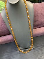 Ladies Womens's Vintage 1960's Sarah Coventry Imitation amber necklace 36""
