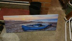 Sunset Beach & Boat Canvas Wall Photo Art
