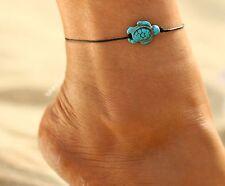 ☆ Fußkette Fußkettchen   Schildkröte   Leder Band   Elegantes Design   22-26cm ☆