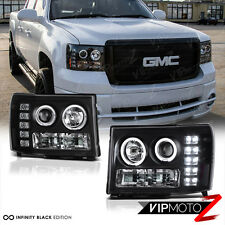 2007-2013 GMC Sierra 1500 2500HD 3500HD Black LED Angel Eye Projector Headlights