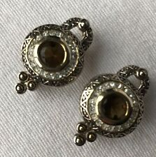 Premier Designs Dressed For Success Clip Po Earrings Two Tone Smoky Topaz Accent