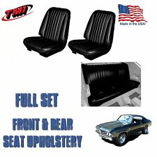 1968 Chevelle Front/Rear Seat Upholstery Black Vinyl Made in USA IN STOCK!!