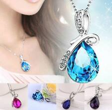 Gemstone Crystal Teardrop Silver Plated Necklace in 4 Colours