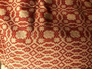"Amazing 1800's Wool coverlet Overshot Red & Ecru 74""x92"" No Seam Excellent Cond!"