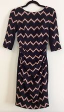 TRACEY REESE Ruched Silk Combo T Dress Black/Beige Zigzag Print Size 0 NWT