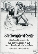 Steckenpferd Seife Reklame 1914 Freibad Ostsee Nordsee Strand Meer Badeanzug