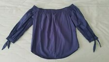 Womens, Abercrombie & Fitch, Blue, Off the Shoulder, Shirt, size medium