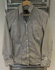 Ben Sherman Ladies Shirt Black White Pin Stripes Striped Long Sleeve Medium