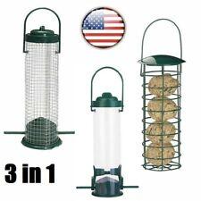 3 Pack Hanging Wild Bird Feeder Seed Nut Fat Ball Garden Feeding Station Outdoor