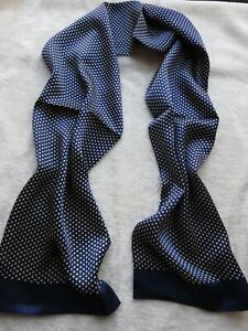Men's Vintage 100% Silk Scarf Double Layer Silky Classic Blue For All Seasons