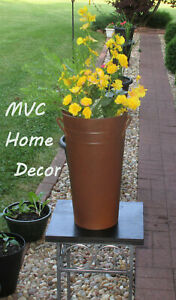 """13"""" French Flower Bucket Can with Handles & Brown Black Speckled Finish"""