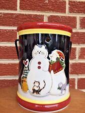 DEB STRAIN Winter Snowman Snow Kitten Tabby Calico Cat TART BURNER Yankee Candle