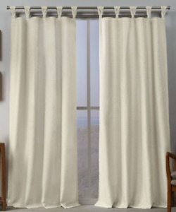 """Exclusive Home Loha Ivory Braided Top Tab Curtains Panels (2) 54""""x96"""" New, Open"""