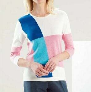 David Nieper Contemporary Colour Block Jumper in Blue, Pink, White Size 16 New