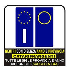 ADESIVI Targa AUTO ANNO E PROVINCIA RIFRANGENTI - ANTERIORI E/O POSTERIORI