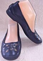 NURTURE Black Women 8.5 Leather Embellished Loafer Ballet Flat Moc Toe Shoe