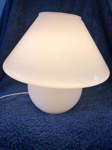 Rare Habitat Glass Mushroom Lamp. White 1980s-1990s