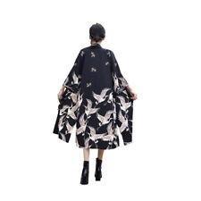 Women Japanese Kimono Coat Loose Yukata Outwear Long Bathrobe Tops Vintage Black