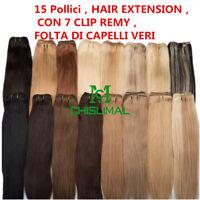 HAIR EXTENSION , FASCIA , FOLTA DI CAPELLI VERI , 15 Pollici , CON 7 CLIP REMY