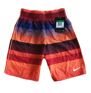 NWT NIKE Swim Trunks Board Shorts Orange With assorted stripes and Swoosh Sz 6