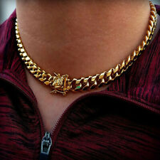 """Hip Hop Stainless Steel 10mm 18"""" Miami Cuban Choker Box Lock Chain Necklace"""
