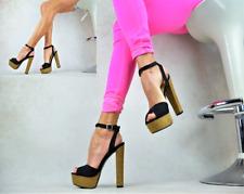 SEXY Damenschuhe Blockabsatz Peep Toe Sandalen Plateau Party Pumps High Heels