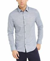 Calvin Klein Mens Shirt Blue Size Small S Long Sleeve Stretch Button Up $79 #095