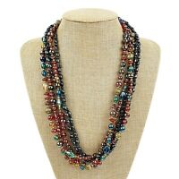 Vtg Handmade In India Multi Strand Glass Beaded Layered Necklace Bohemian Boho