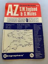 Vintage 1970s Map SW England S Wales Road Map Index A to Z Great Britain