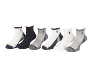 Polo Ralph Lauren Boy's 6-Pairs White Quarter Crew Socks Sz: 8-9.5 Fits 13-3