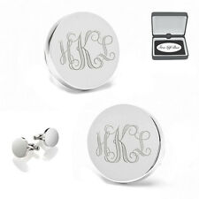 PERSONALIZED STAINLESS STEEL CIRCLE CUFFLINKS CUSTOM ENGRAVED FREE CUFF LINKS