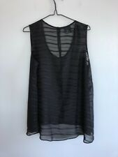 ASOS Curve Women's Size 18 Sheer Sleeveless Blouse Top Keyhole Back Black Stripe