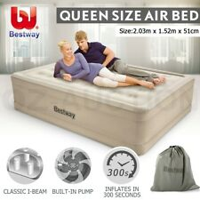 Bestway Air Bed Inflatable Luxury Queen Blow Up Mattress Built-in Pump Camping
