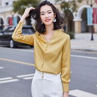 Womens Ladies Silk Blend V Neck Long Sleeves T-shirt Career Office Ladies Tops