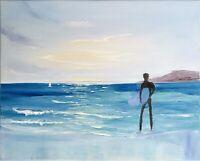 California Surfer Painting Seascape Original Canvas Art Impasto 16 by20
