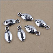 50 American Football Tibetan Silver Charms Pendants 16mm EIF0023