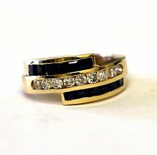 14k yellow gold womens diamond sapphire .36ct SI1 H band ring ladies 6.3g estate
