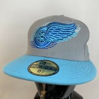New Era Detroit Red Wings Fitted Baseball Cap Hat NHL 59Fifty 6 7/8 Grey Blue