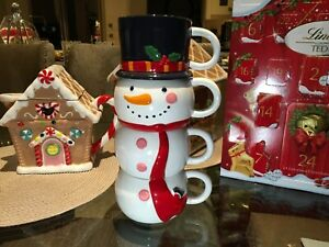 Christmas Snowman Stacking Mug Set  Festive Ceramic