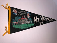 Vintage Pennant Washington's Mansion Mount Vernon Virginia Souvenir Felt Wool