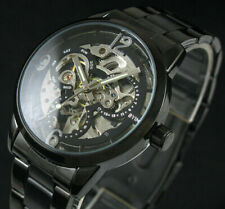 Steampunk Mechanical Mens Stainless Steel Skeleton Black Automatic Wrist Watch