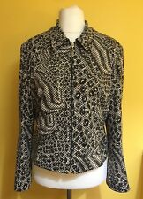 JOSEPH RIBKOFF Animal Print Sequin Collared Zip Up Evening Jacket ~Size 12/14~