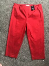 Ladies M&S Tapered Crop Cotton Stretch Trousers Size 16 Medium Free P&p Red